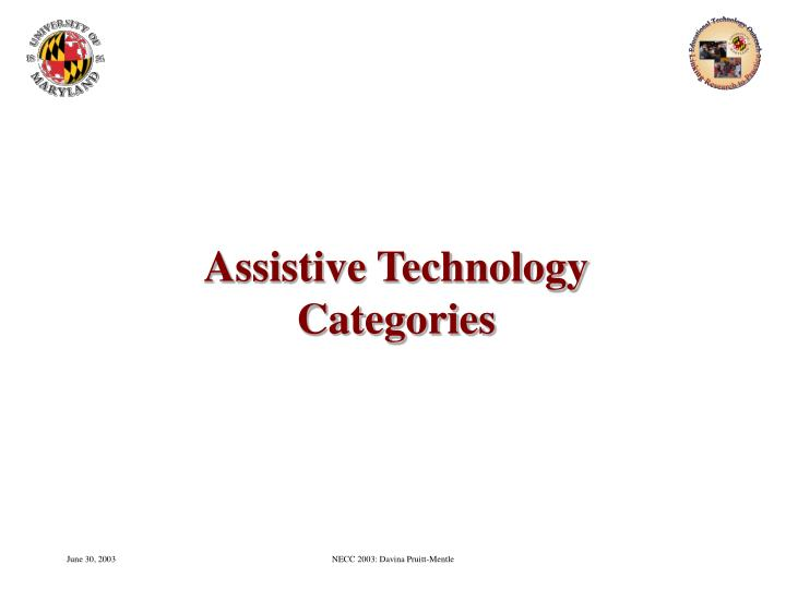 Assistive technology categories
