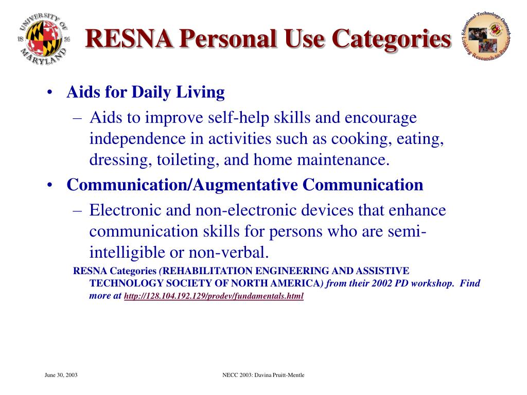 RESNA Personal Use Categories