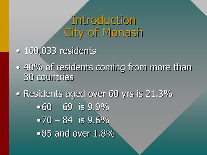 Introduction city of monash