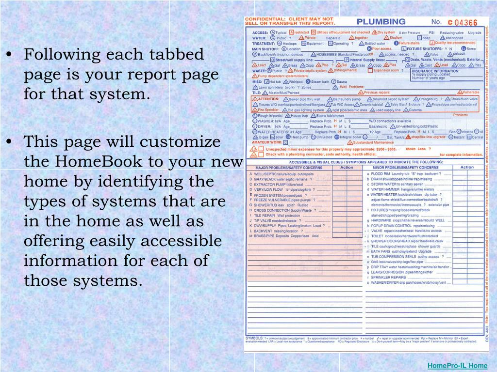 Following each tabbed page is your report page for that system.