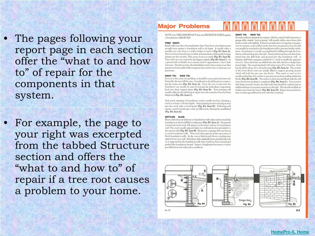 "The pages following your report page in each section offer the ""what to and how to"" of repair for the components in that system."