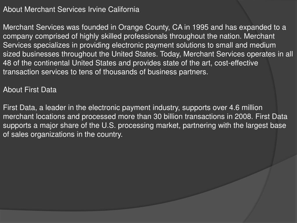 About Merchant Services Irvine California