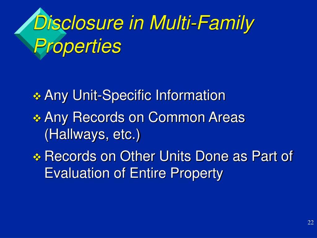 Disclosure in Multi-Family Properties