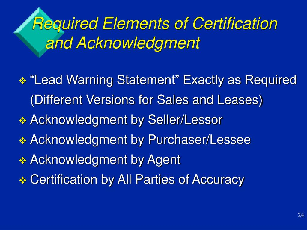 Required Elements of Certification