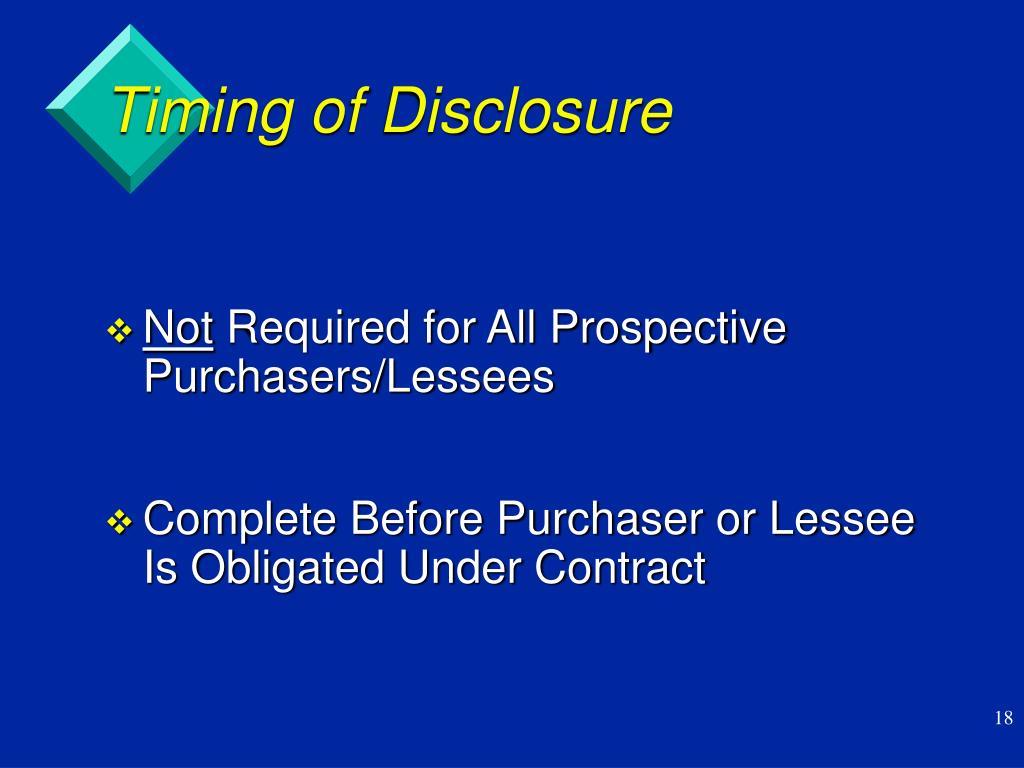 Timing of Disclosure