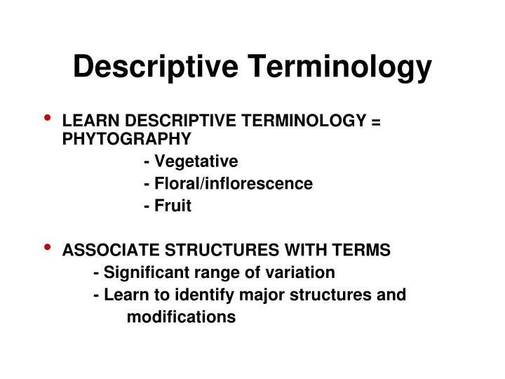 Descriptive Terminology