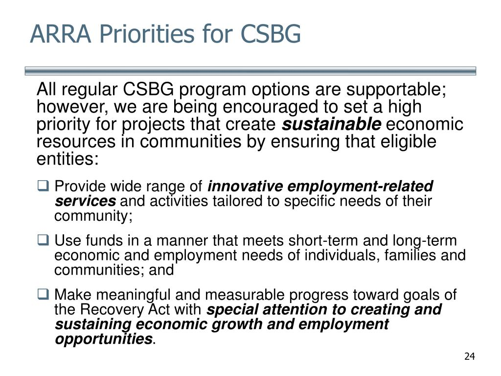 ARRA Priorities for CSBG