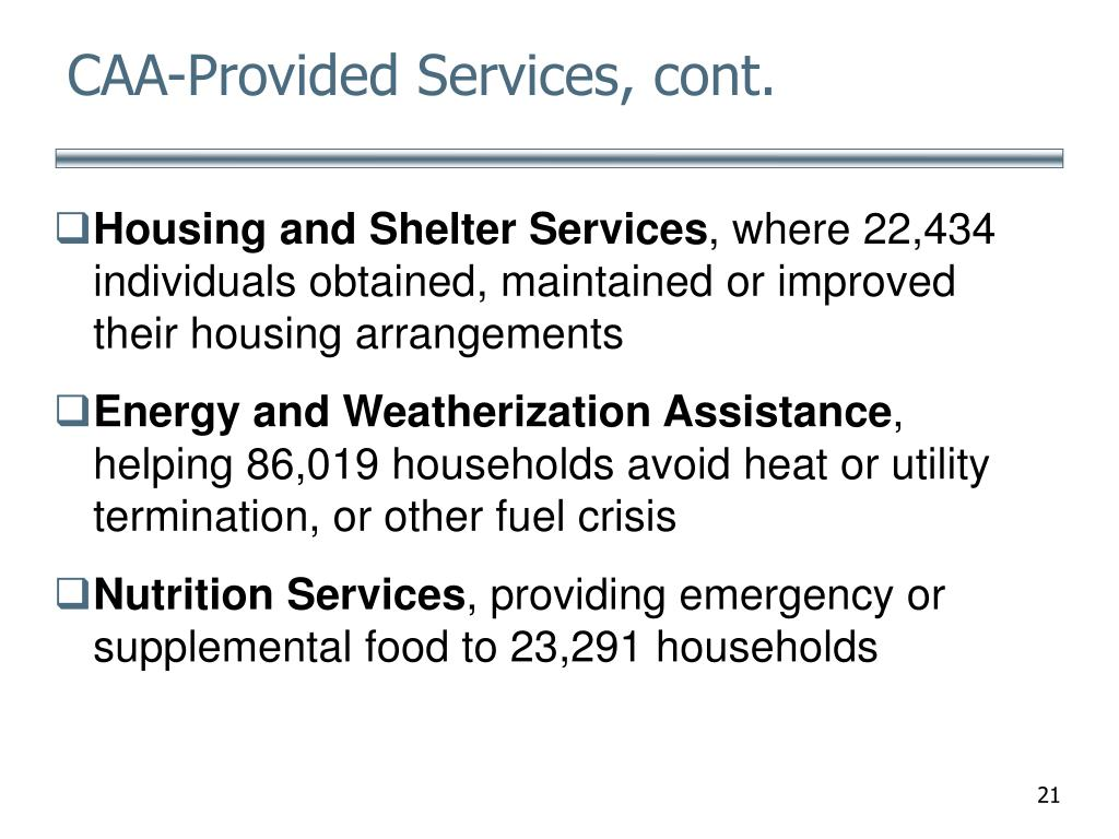CAA-Provided Services, cont.