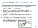 how will arra csbg be distributed cont