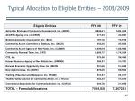 typical allocation to eligible entities 2008 2009