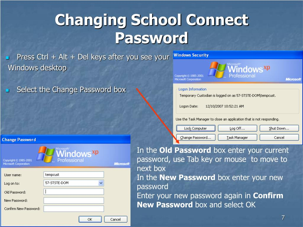Changing School Connect Password