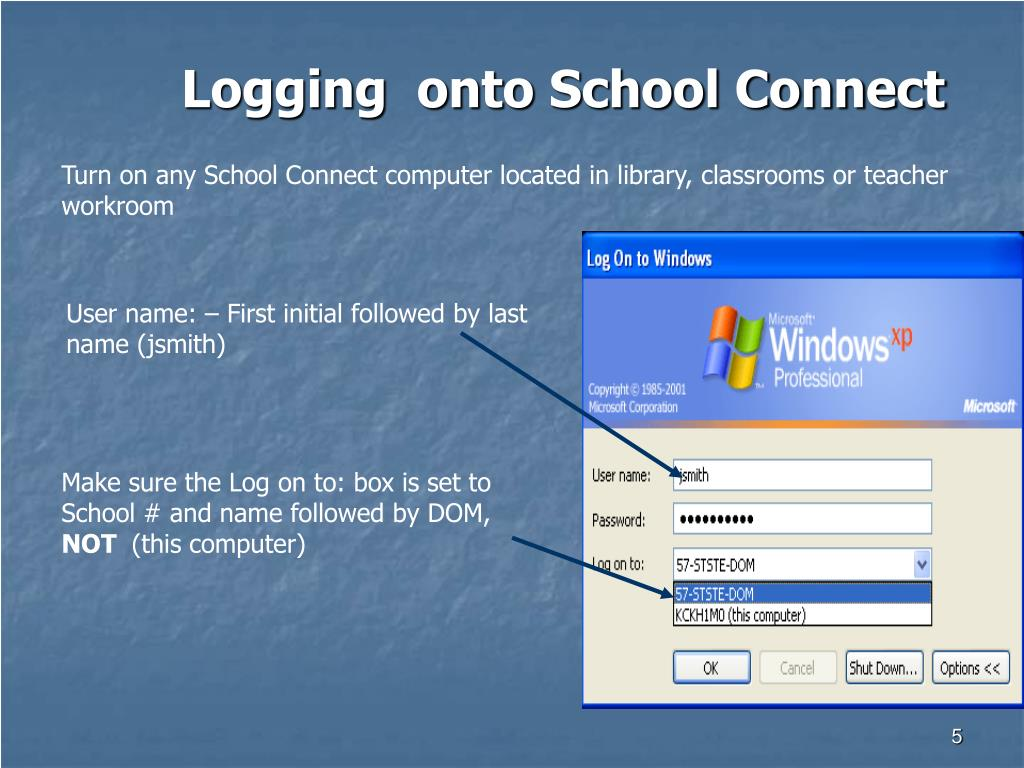 Logging  onto School Connect
