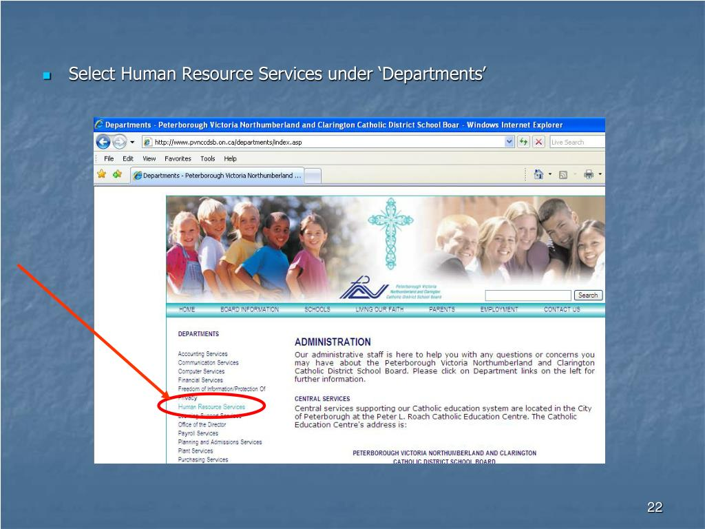 Select Human Resource Services under 'Departments