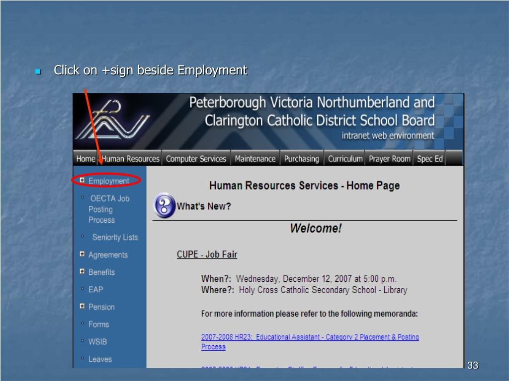 Click on +sign beside Employment