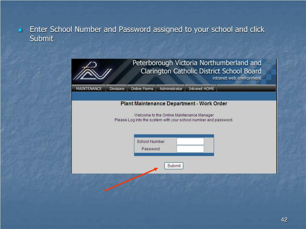 Enter School Number and Password assigned to your school and click Submit