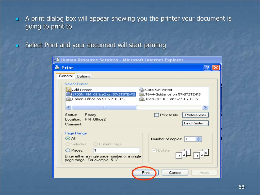 A print dialog box will appear showing you the printer your document is going to print to