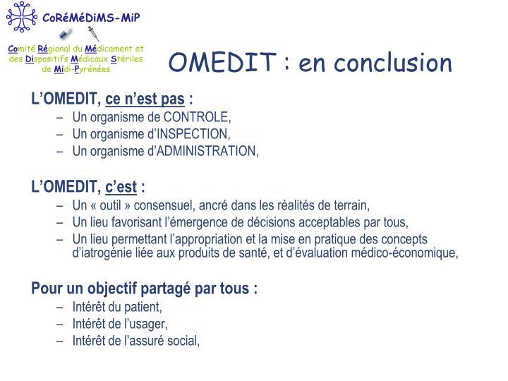 OMEDIT : en conclusion