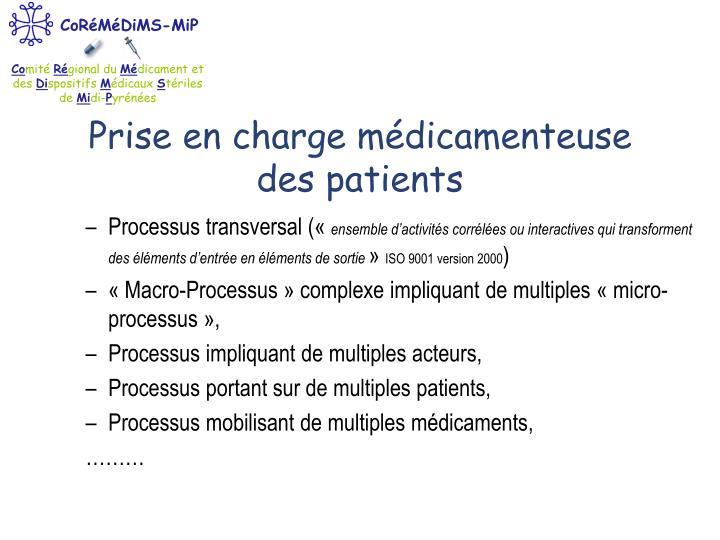 Prise en charge médicamenteuse des patients