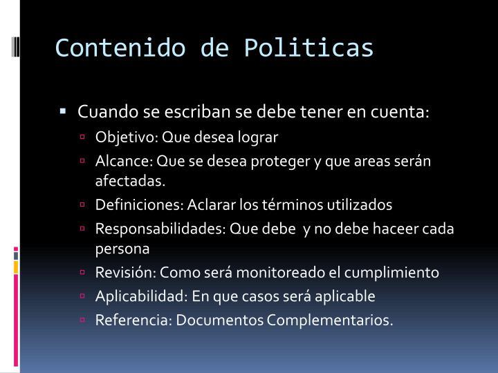 Contenido de Politicas