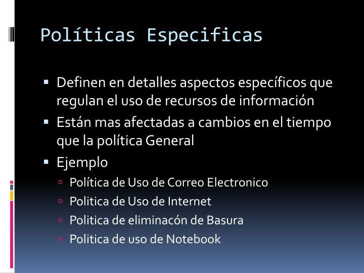 Políticas Especificas