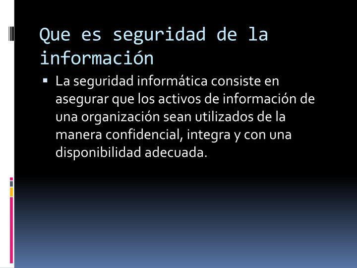 Que es seguridad de la información