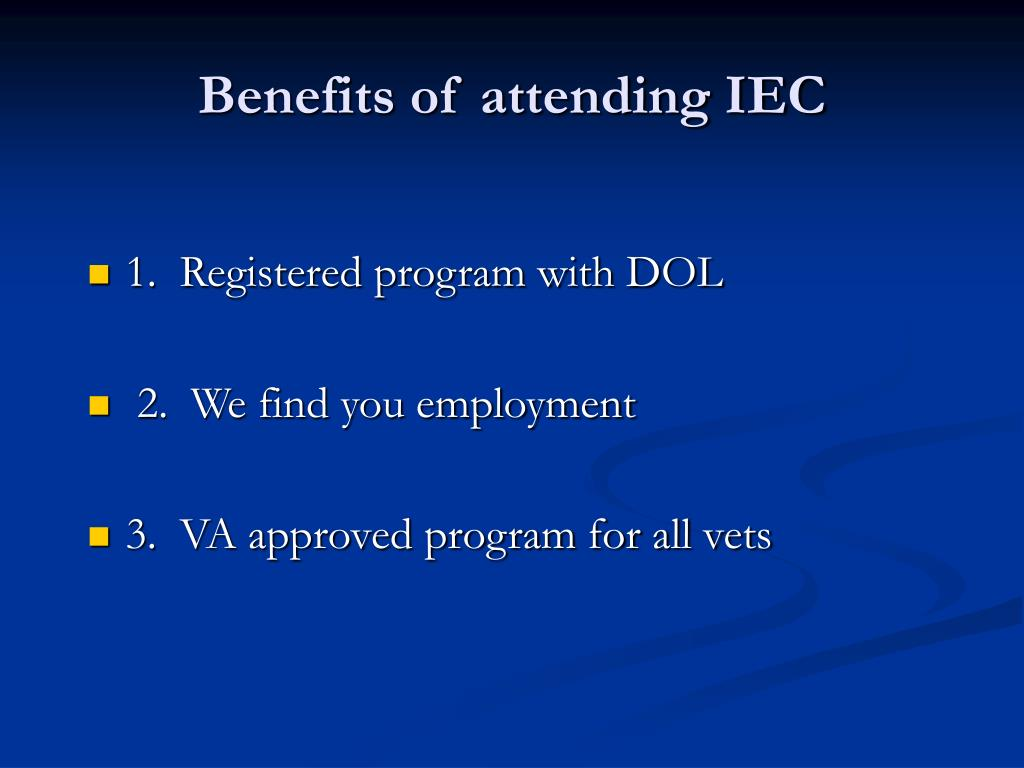 Benefits of attending IEC