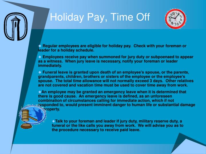 Holiday Pay, Time Off