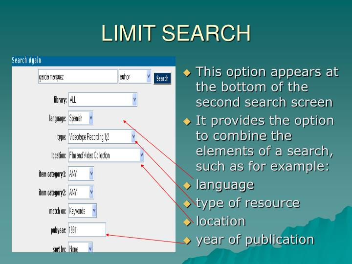 LIMIT SEARCH