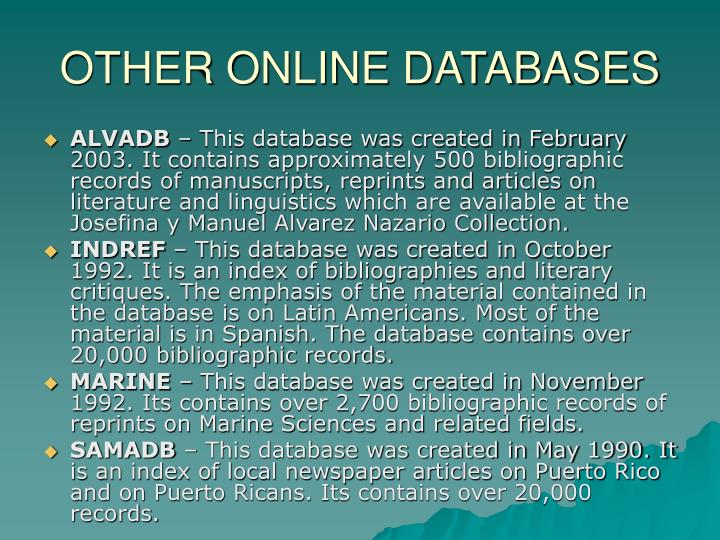 OTHER ONLINE DATABASES