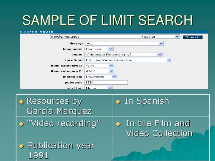 SAMPLE OF LIMIT SEARCH