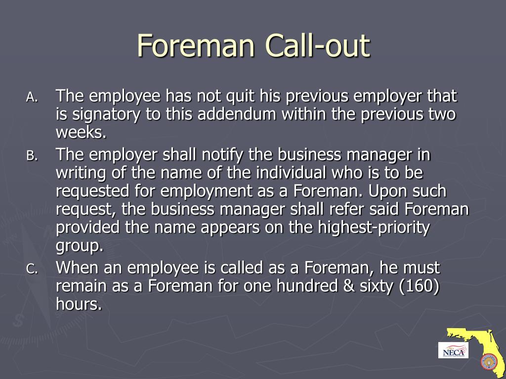 Foreman Call-out