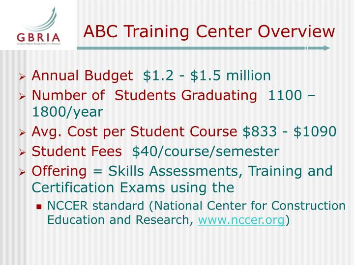 Abc training center overview