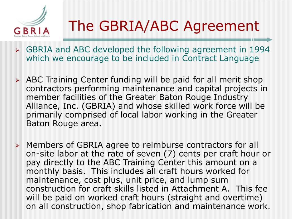 The GBRIA/ABC Agreement