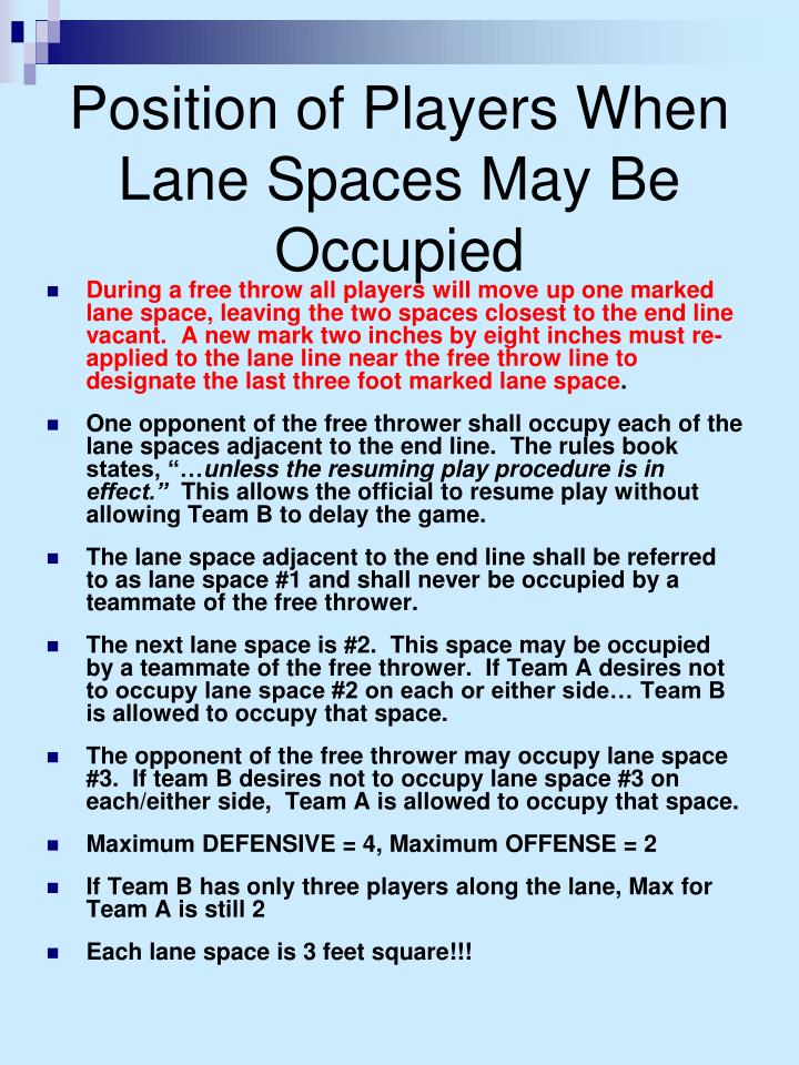 Position of Players When Lane Spaces May Be Occupied