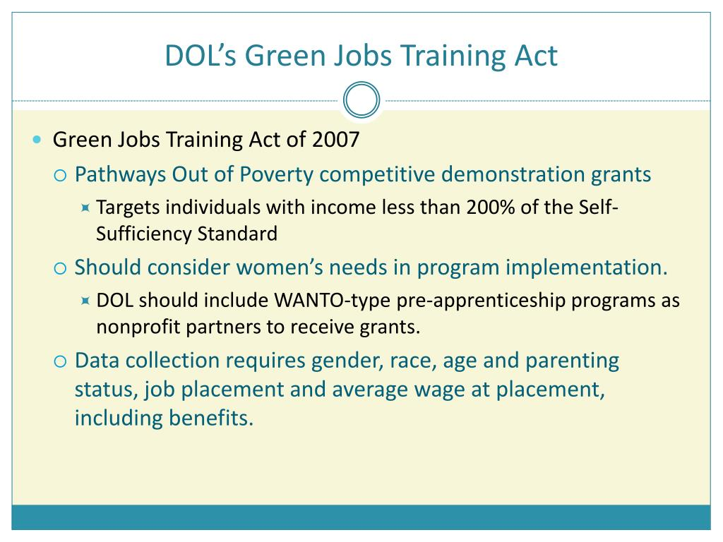 DOL's Green Jobs Training Act