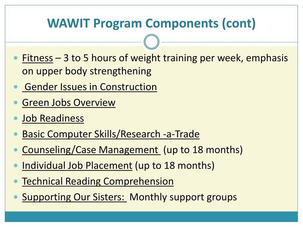 WAWIT Program Components (cont)