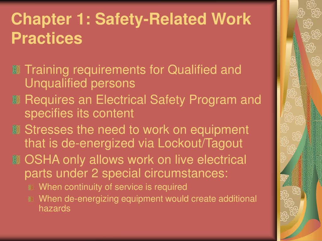 Chapter 1: Safety-Related Work Practices