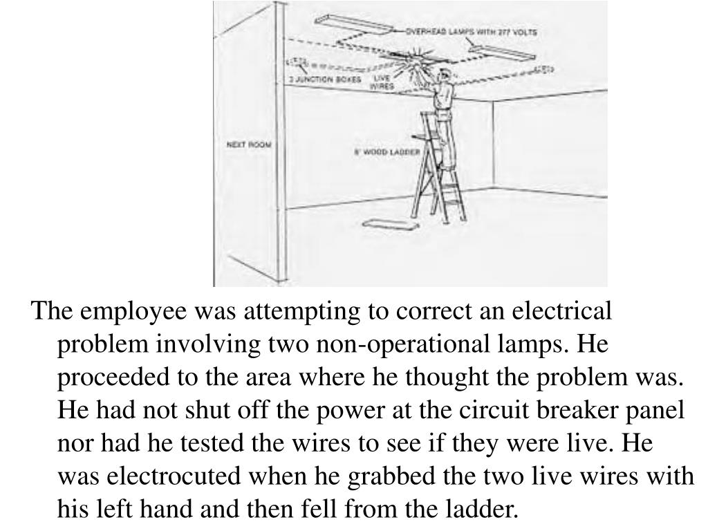 The employee was attempting to correct an electrical problem involving two non-operational lamps. He proceeded to the area where he thought the problem was. He had not shut off the power at the circuit breaker panel nor had he tested the wires to see if they were live. He was electrocuted when he grabbed the two live wires with his left hand and then fell from the ladder.