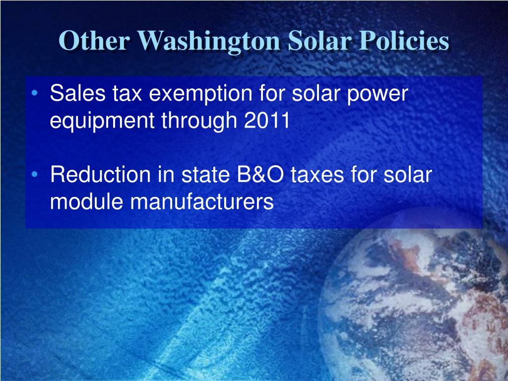 Other Washington Solar Policies