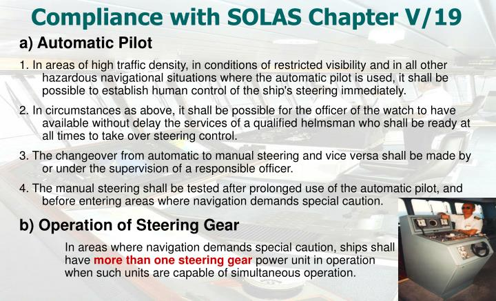 Compliance with SOLAS Chapter V/19
