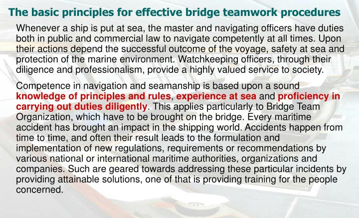 The basic principles for effective bridge teamwork procedures