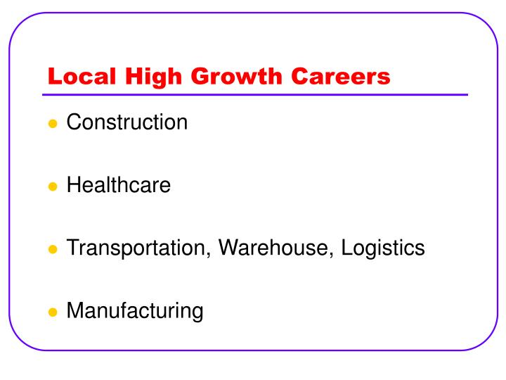 Local high growth careers