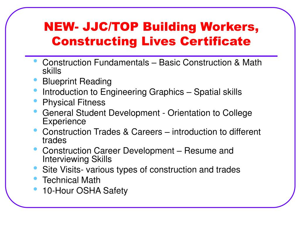 NEW- JJC/TOP Building Workers, Constructing Lives Certificate