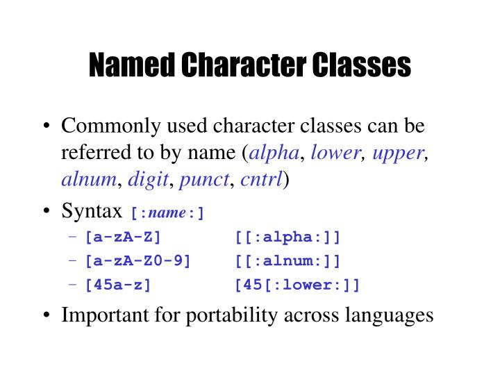 Named Character Classes