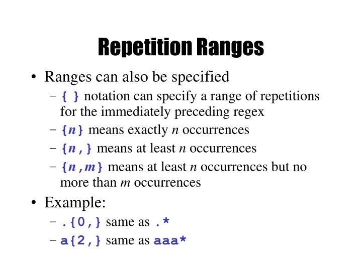 Repetition Ranges