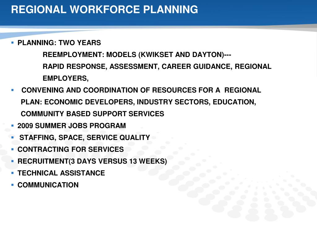 REGIONAL WORKFORCE PLANNING