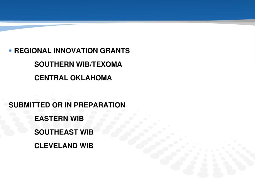 REGIONAL INNOVATION GRANTS
