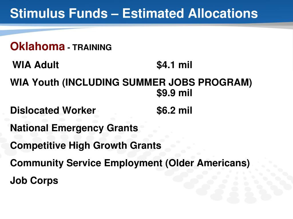 Stimulus Funds – Estimated Allocations