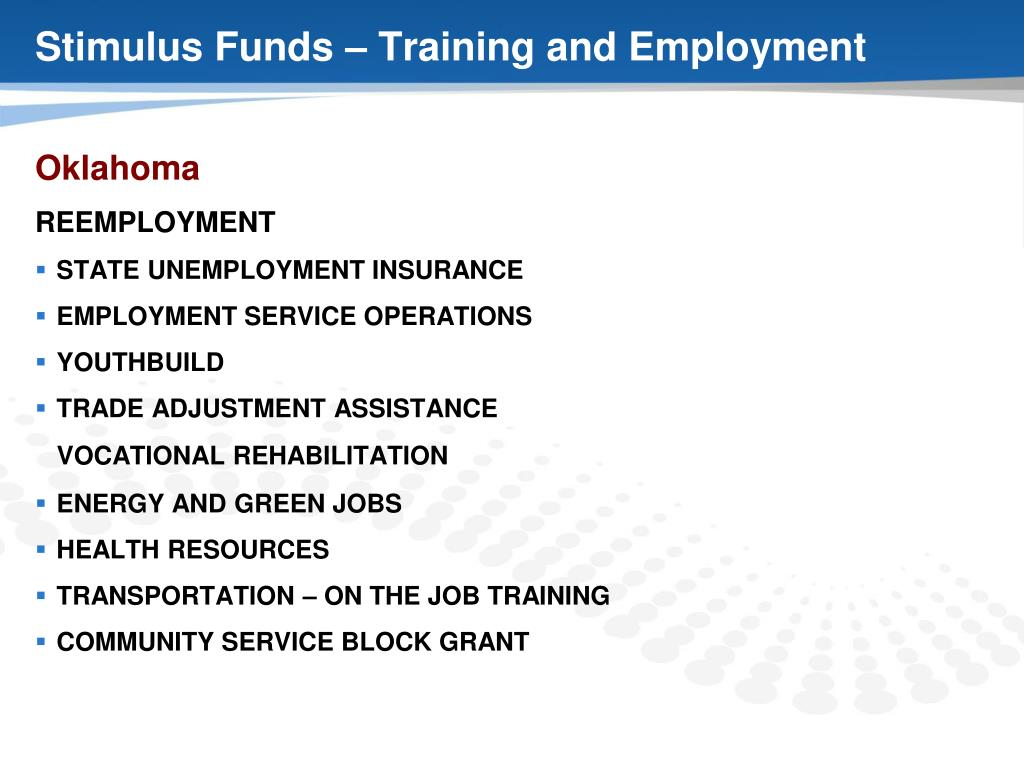 Stimulus Funds – Training and Employment