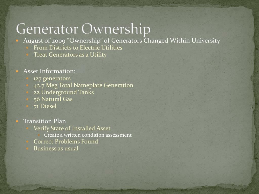 Generator Ownership
